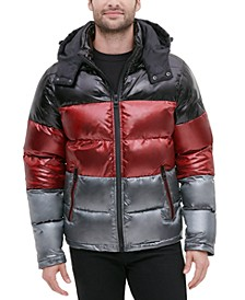 Men's Shiny Colorblock Hooded Puffer Jacket