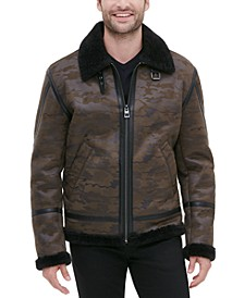 Men's Camo Print Bomber Jacket with Faux Shearling
