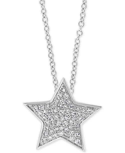 "EFFY Collection EFFY® Diamond Star 18"" Pendant Necklace (1/4 ct. t.w.) in 14k White Gold"
