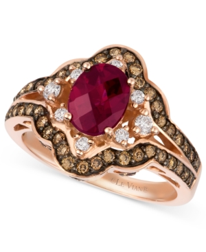 Le Vian Raspberry Rhodolite Garnet (1-3/8 ct. t.w.), Diamond and Chocolate Diamond (3/4 ct. t.w.) Oval Ring in 14k Rose Gold