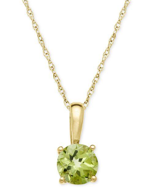 Macy's Peridot Pendant Necklace in 14k Gold (5/8 ct. t.w.)