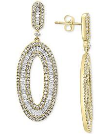 EFFY® Diamond Baguette Drop Hoop Earrings (2-1/10 ct. t.w.) in 14k Gold