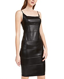Snake-Embossed Faux-Leather Bandage Dress