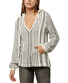Juniors' Campfire Striped Hooded Sweater