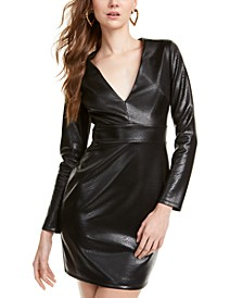 Snake-Embossed Faux-Leather Dress