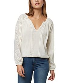 Cotton Woven Top With Lace Trim