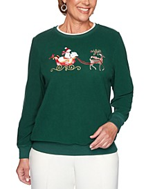 Petite Classics Embroidered Sleigh Embellished Top