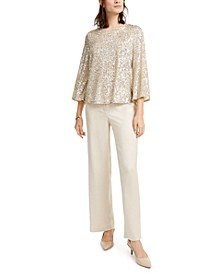 Petite Sequined Bell-Sleeve Top, Created For Macy's
