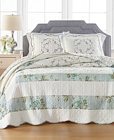 Quilted Embroidered Floral Full Bedspread, Created for Macy's