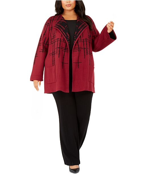 Alfani Plus Size Double-Faced Sweater Jacket, Created for Macy's
