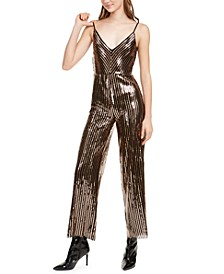 Sequined Cowlback Jumpsuit