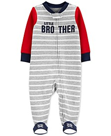 Baby Boys Cotton Colorblocked Little Brother Coverall