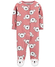 Baby Girls Cotton Koala-Print Footed Coverall