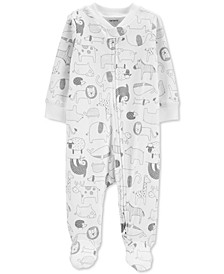 Baby Boys & Girls Cotton Animal-Print Footed Coverall