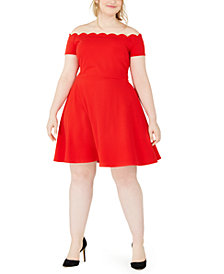 B Darlin Trendy Plus Size Scalloped Off-The-Shoulder Dress