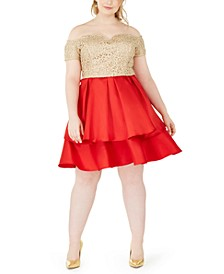 Trendy Plus Size Off-The-Shoulder Embroidered & Satin Dress