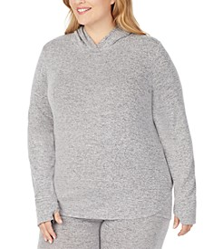 Plus Size Soft Knit Long-Sleeve Tunic Hoodie
