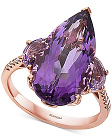 EFFY® Amethyst (8-1/2 ct. t.w.) & Diamond (1/20 ct. t.w.) Statement Ring in 14k Rose Gold