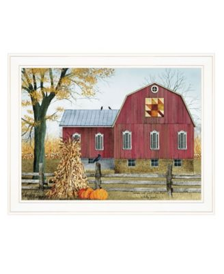 """Autumn Leaf Quilt Block Barn by Billy Jacobs, Ready to hang Framed Print, White Frame, 27"""" x 21"""""""