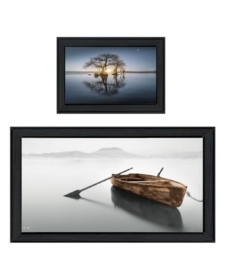 """Tree Reflections 2-Piece Vignette by Moises Levy, Black Frame, 39"""" x 21"""""""