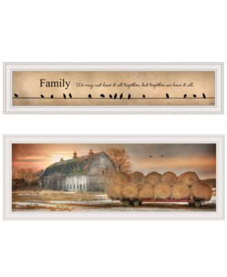"""Together Blessed We Have It All 2-Piece Vignette by Lori Deiter, White Frame, 39"""" x 15"""""""