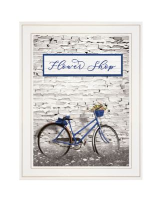 """Flower Shop Bicycle by Lori Deiter, Ready to hang Framed Print, White Frame, 15"""" x 19"""""""