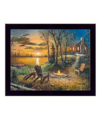 "Fireside By Jim Hansen, Printed Wall Art, Ready to hang, Black Frame, 14"" x 11"""