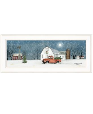 """Winter on The Farm by Billy Jacobs, Ready to hang Framed Print, White Frame, 27"""" x 11"""""""