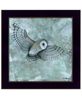 "Simplicity Owl by Britt Hallowell, Ready to hang Framed Print, Black Frame, 14"" x 14"""