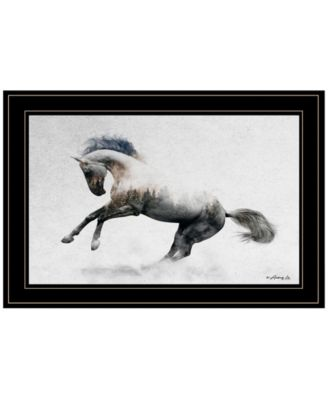 """White Stallion by andreas Lie, Ready to hang Framed Print, Black Frame, 21"""" x 15"""""""