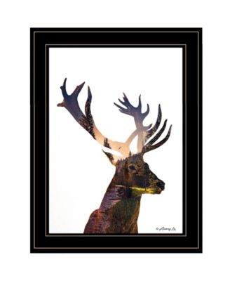 Deer in the Forest by andreas Lie, Ready to hang Framed Print, Black Frame, 15