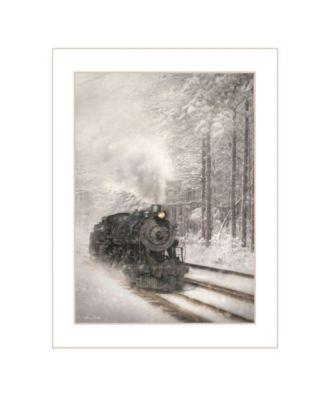 "Snowy Locomotive by Lori Deiter, Ready to hang Framed Print, White Frame, 14"" x 18"""
