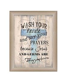 """Wash your Hands By Debbie DeWitt, Printed Wall Art, Ready to hang, Beige Frame, 14"""" x 18"""""""