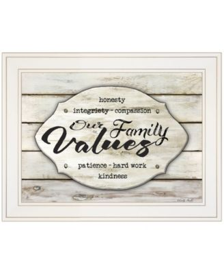 """Our Family Values by Cindy Jacobs, Ready to hang Framed Print, White Frame, 19"""" x 15"""""""