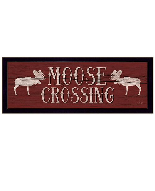"Trendy Decor 4U Trendy Decor 4U Moose Crossing By Lauren Rader, Printed Wall Art, Ready to hang, Black Frame, 20"" x 11"""
