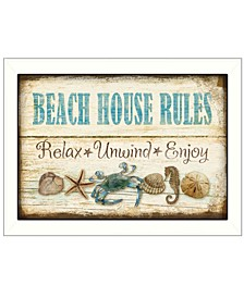 Trendy Decor 4U Beach House Rules By Mollie B., Printed Wall Art, Ready to hang Collection