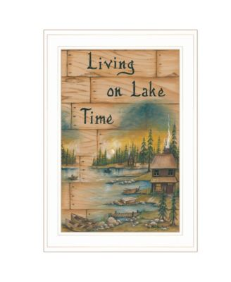 """Living On The Lake by Mary June, Ready to hang Framed Print, White Frame, 15"""" x 21"""""""