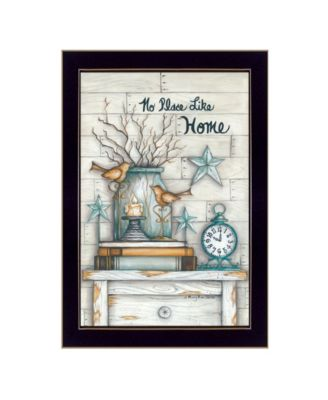 """No Place Like Home By Mary June, Printed Wall Art, Ready to hang, Black Frame, 14"""" x 20"""""""