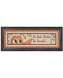 "Trendy Decor 4U Wise Owl By Mary June, Printed Wall Art, Ready to hang, Brown Frame, 21"" x 9"""