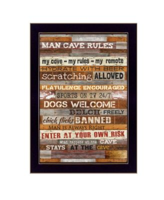 """Man Cave Rules By Marla Rae, Printed Wall Art, Ready to hang, Black Frame, 10"""" x 14"""""""