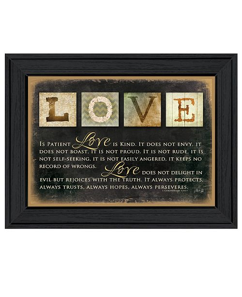 "Trendy Decor 4U Trendy Decor 4U Love By Marla Rae, Printed Wall Art, Ready to hang, Black Frame, 20"" x 26"""