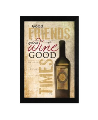 Good Wine By Marla Rae, Printed Wall Art, Ready to hang, Black Frame, 14