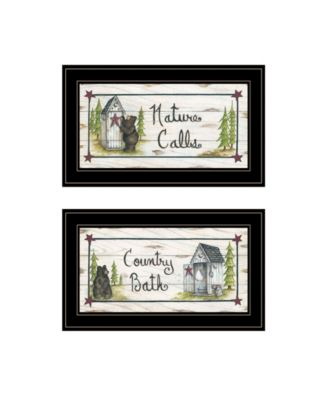 """Nature Calls 2-Piece Vignette by Mary June, Black Frame, 21"""" x 12"""""""