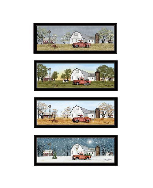 "Trendy Decor 4U Trendy Decor 4U Billy Jacobs Four Seasons Collection VII 4-Piece Vignette by Billy Jacobs, Black Frame, 39"" x 15"""