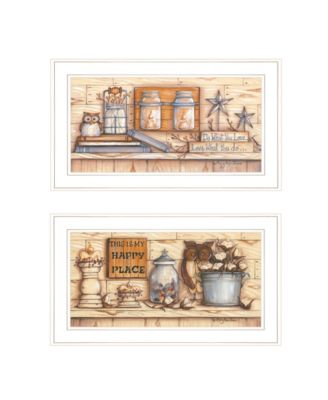 """My Happy Place 2-Piece Vignette by Mary June, White Frame, 21"""" x 12"""""""