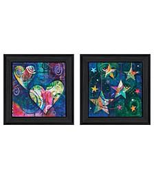 "Trendy Decor 4U A Heart of Love 2-Piece Vignette by Lisa Morales, Black Frame, 15"" x 15"""