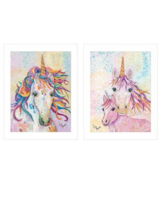 "Unicorns 2-Piece Vignette by Lisa Morales, White Frame, 14"" x 18"""