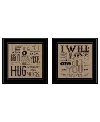 "Hugs / Forever 2-Piece Vignette by Deb Strain, Black Frame, 15"" x 15"""