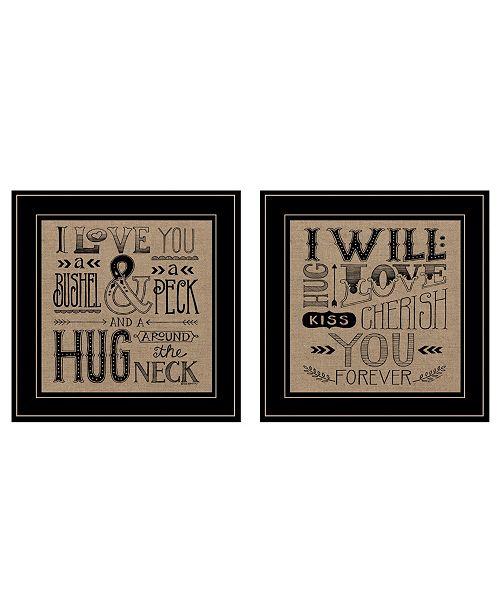 "Trendy Decor 4U Trendy Decor 4U Hugs / Forever 2-Piece Vignette by Deb Strain, Black Frame, 15"" x 15"""