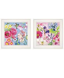 "Trendy Decor 4U English Garden III IV 2-Piece Vignette by Barb Tourtillotte, White Frame, 15"" x 15"""